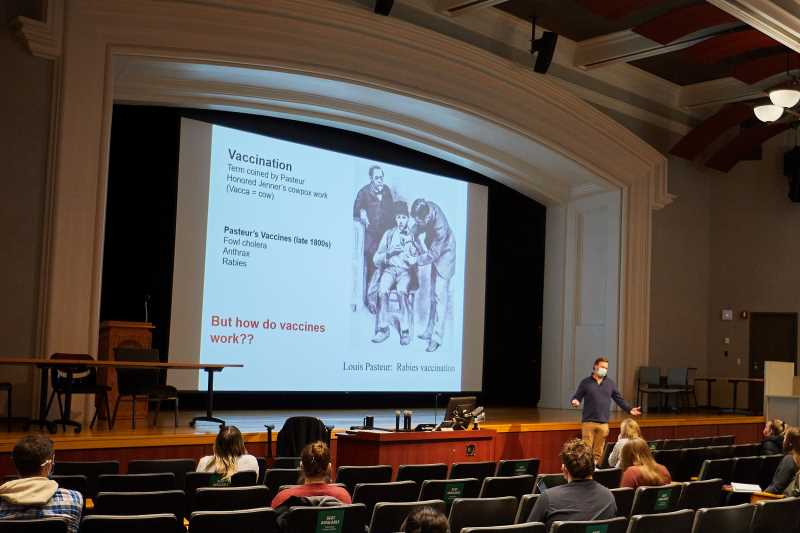 Peter Wilker, associate professor of microbiology, lectures during an immunology class at UW-La Crosse.