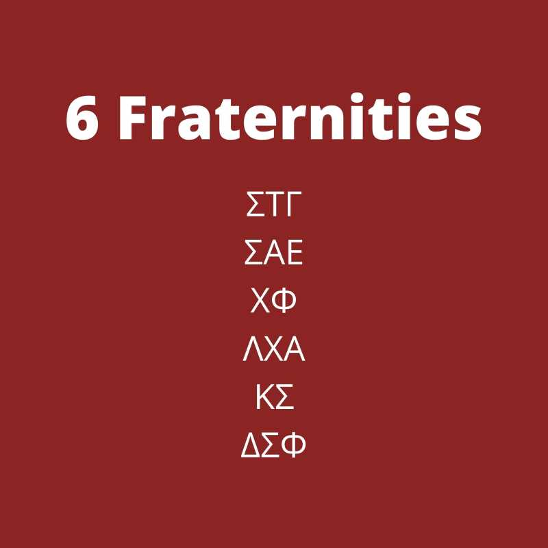 Slide listing all 6 fraternities on campus: ΣΤΓ,ΣΑΕ, ΧΦ, ΛΧΑ, ΚΣ, ΔΣΦ