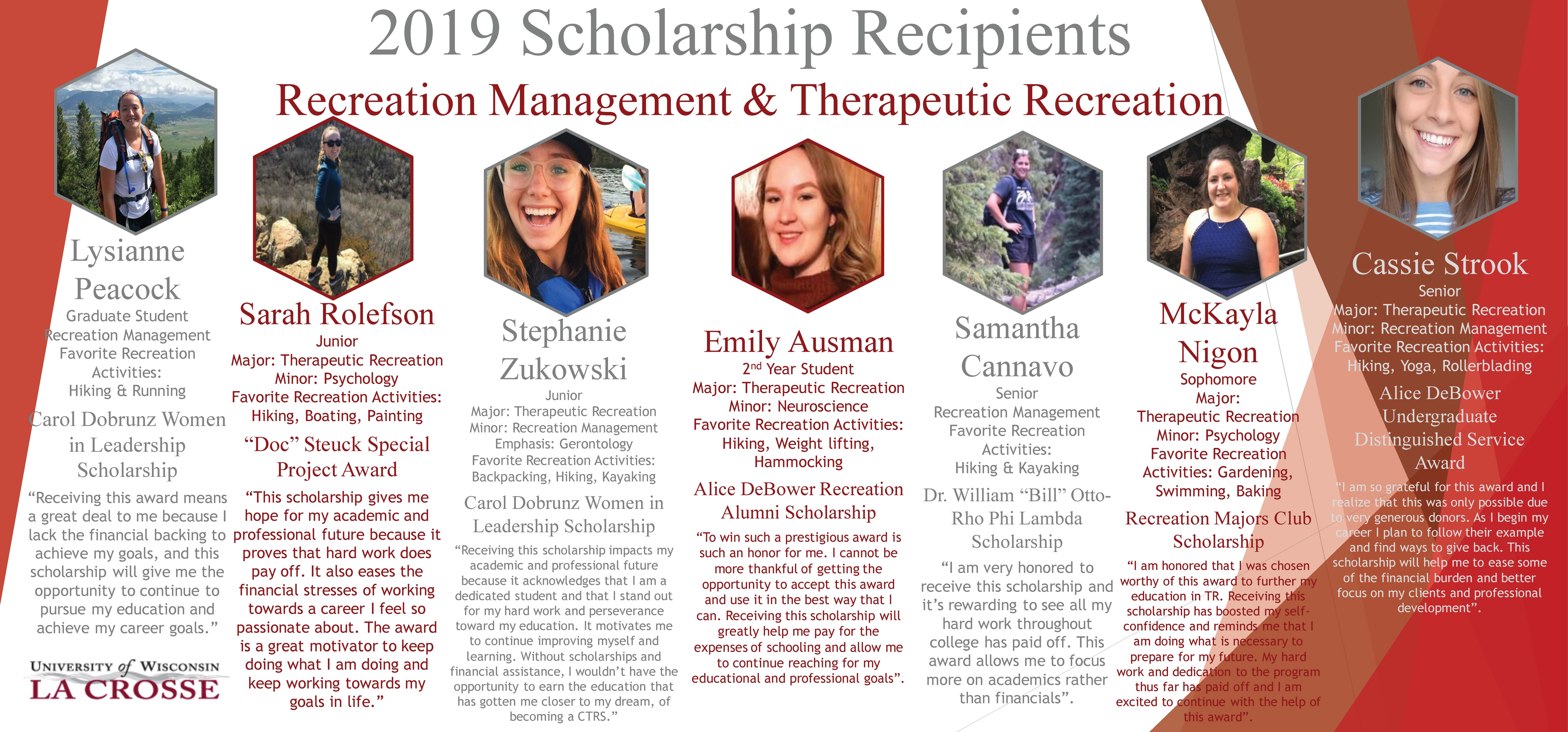 Seven RMTR students who received 2019 scholarships.