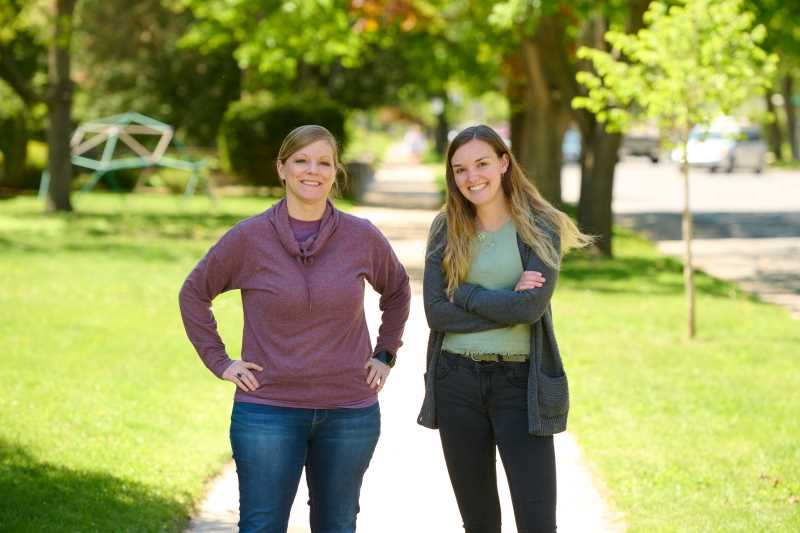 "Gracie Quinn, pictured on the right, a senior majoring in middle-childhood-early adolescence education, has teamed up with Assistant Professor of Educational Studies Charlotte Roberts to start a blog, ""People Seeing People,"" about homelessness in the La Crosse area."