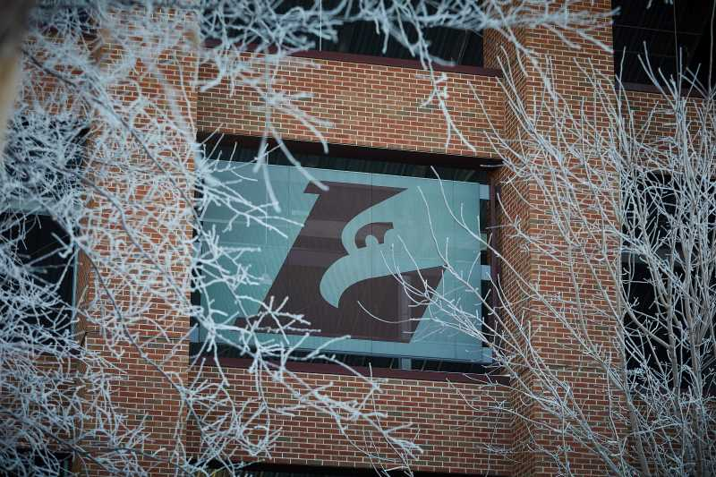 The Eagle L is surrounded by frosty limbs near Roger Harring Stadium.