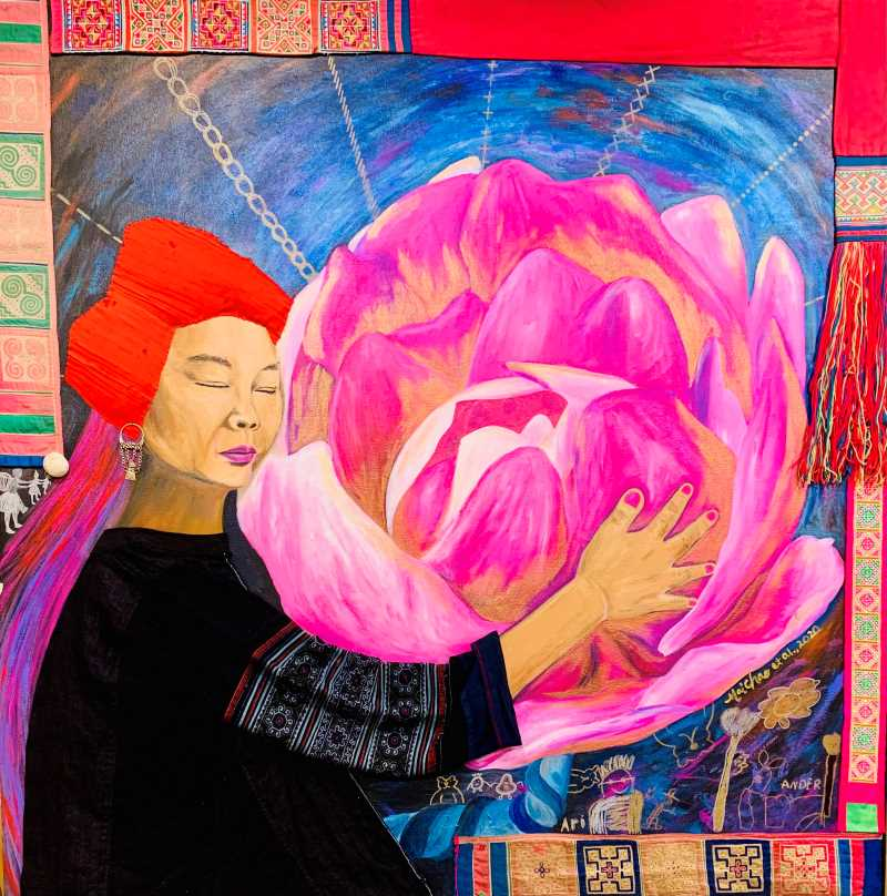 "Mai Chao Duddeck's ""Embracing and Relearning,"" a mixed media piece, is one of 11 pieces that will be on display in ""Redefining Hmong American Women"" at the Pump House May 19-July 17."