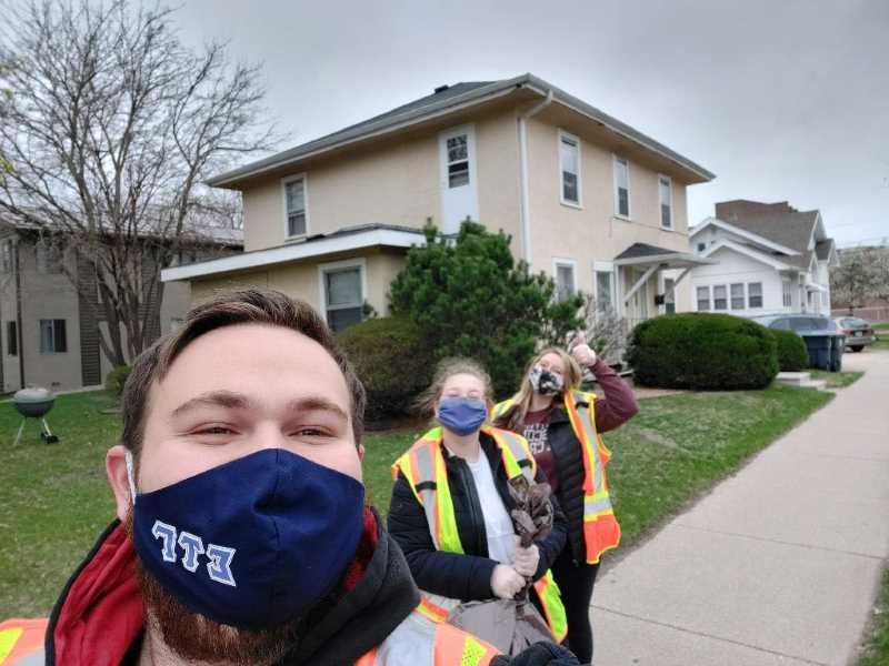 Among the 30 members of the Alpha Chi Chapter of Order of Omega who headed out into UWL neighborhoods April 14, to pick up trash were, from left, Zach Hanson (Sigma Tau Gamma,) Katherine Gapinski (Sigma Sigma Sigma,) and Myah Tofson (Alpha Xi Delta).