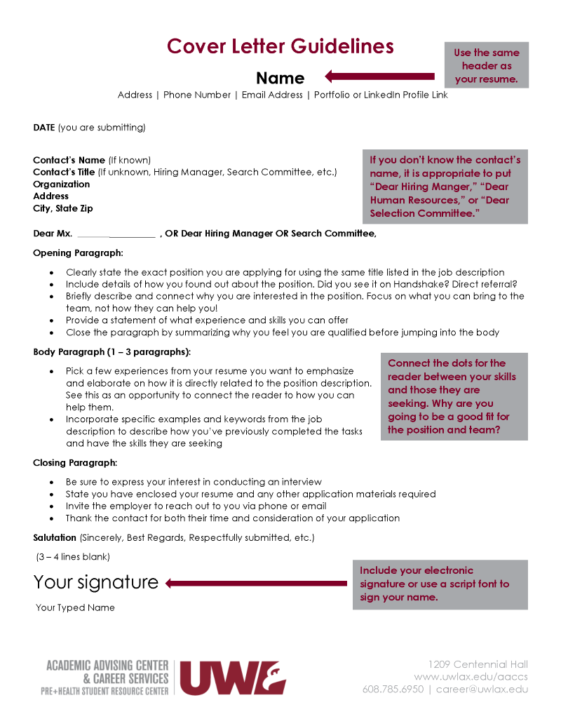 Whenever You Send A Résumé, A Cover Letter Should Always Be Attached. from www.uwlax.edu