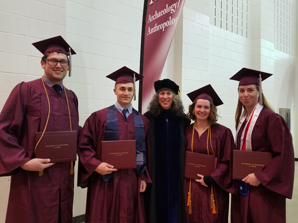 December 2018 grads: From left to right: Kyle Willoughby,  Keagan Rabe,  Ashley Schwartz, and Danielle DuFoe.  One graduate not pictured: Desiree Nelson.