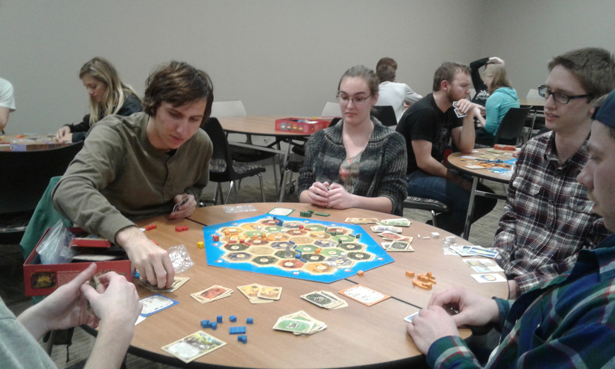 Students playing Settlers of Catan for World Anthropology Day