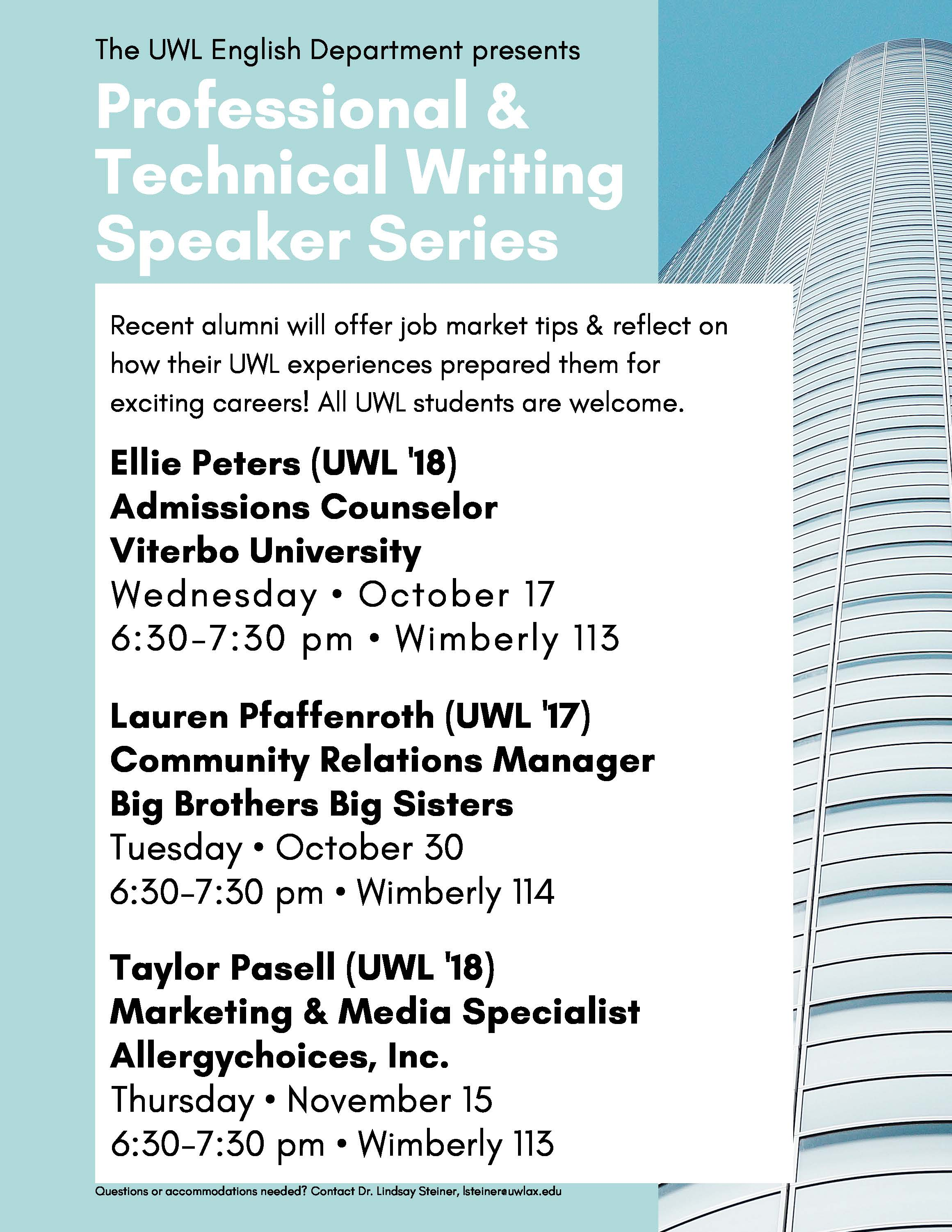PTW Speaker Series schedule fall 2018