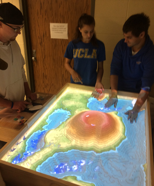 Students using AR Sandbox