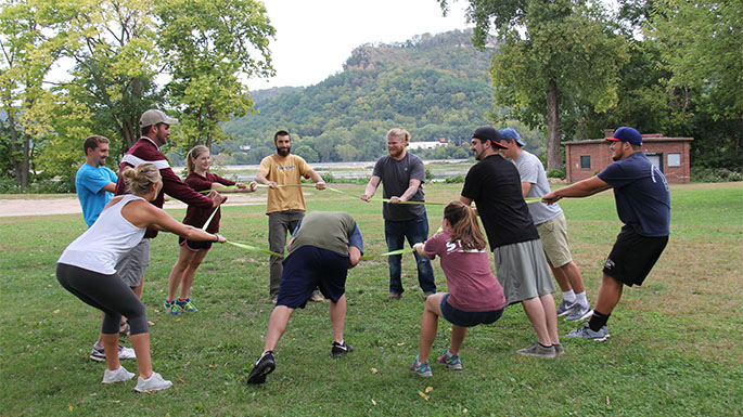 Students in REC 306 (Environmental Ethics, Outdoor Recreation & Natural Resources) participate in a class activity in fall semester 2015. Most students in the course are in UWL's Recreation Management and Therapeutic Recreation program either as a major or minor.