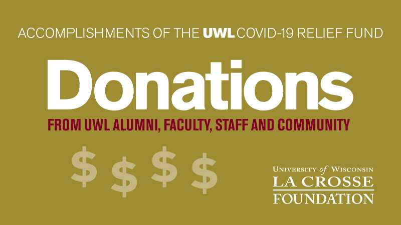donations from UWL Alumni, faculty, staff, and community