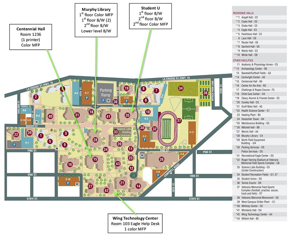 Pay for print campus map