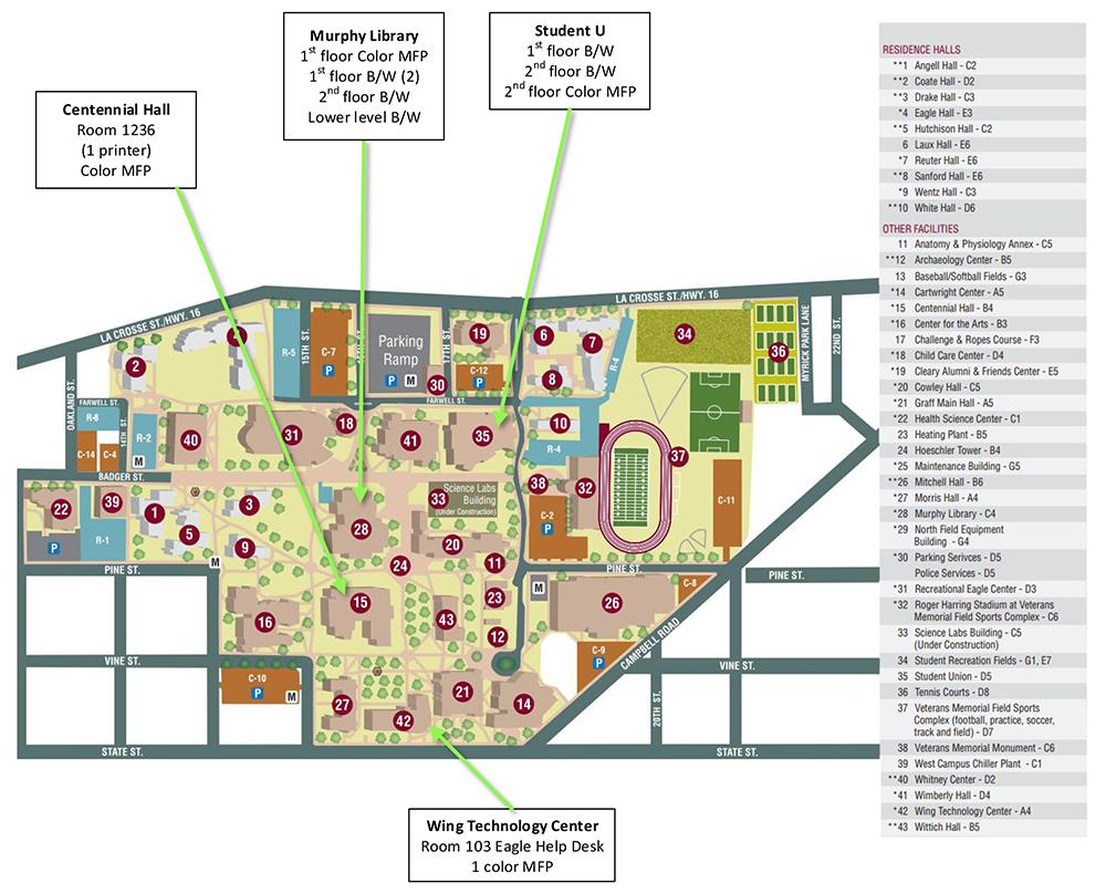 uw lacrosse campus map Pay For Print Information Technology Services Uw La Crosse uw lacrosse campus map