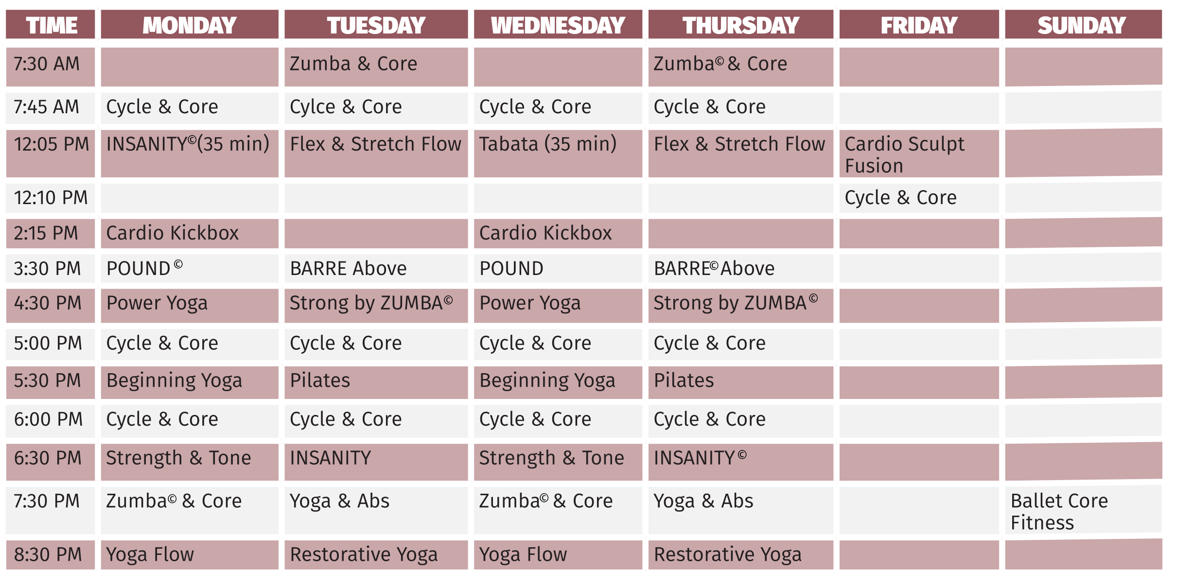 Fall 18 Group Fitness Schedule