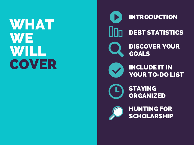 WHAT WE WILL COVER INTRODUCTION DEBT STATISTICS DISCOVER YOUR GOALS INCLUDE IT IN YOUR TO-DO LIST STAYING ORGANIZED HUNTING FOR SCHOLARSHIP