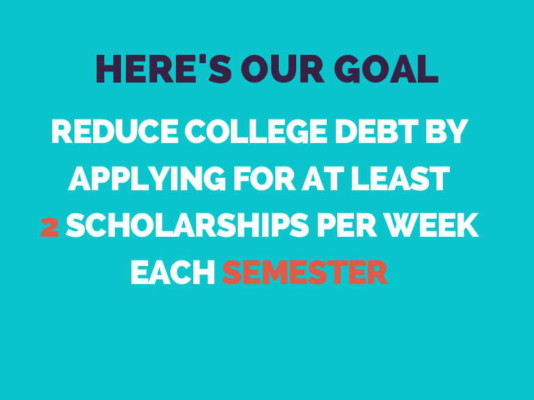HERE'S OUR GOAL REDUCE COLLEGE DEBT BY APPLYING FOR AT LEAST 2 SCHOLARSHIPS PER WEEK EACH SEMESTER