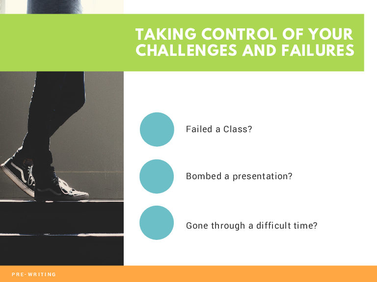 TAKING CONTROL OF YOUR CHALLENGES AND FAILURES Failed a Class? Bombed a presentation? Gone through a difficult time?