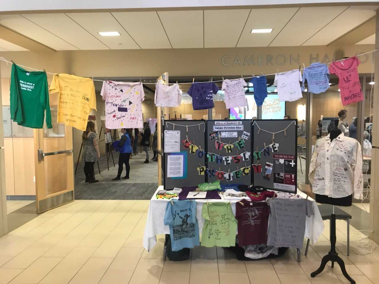 The Clothesline Project display at UWL Fashion Week 2017